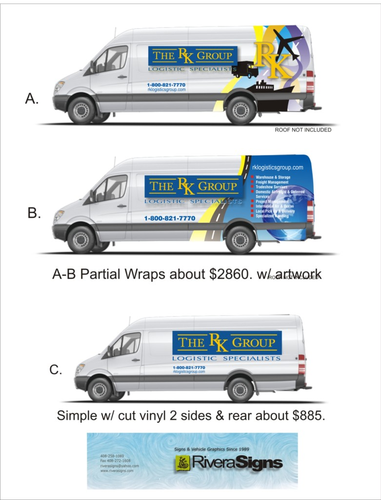 Typical vehicle sign layout for a customer to decide on design. Original design atwork by Chester Rivera.