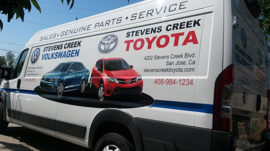 3 new Dodge Pro master Vans. Advertising combined on vans displaying Stevens Creek Volkswagen and Stevens Creek ToyotaToyota.